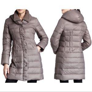 T Tahari Olivia Down Hooded Puffer Coat in Cork S